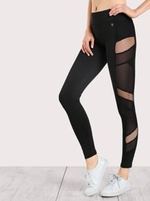 Fishnet and Mesh Cut Out Leggings BLACK