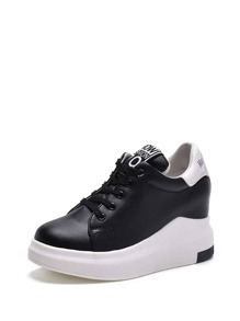 Lace Up PU Wedge Trainers