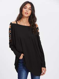 Laddering Cut Out Pearl Embellished Shoulder Oversized Top