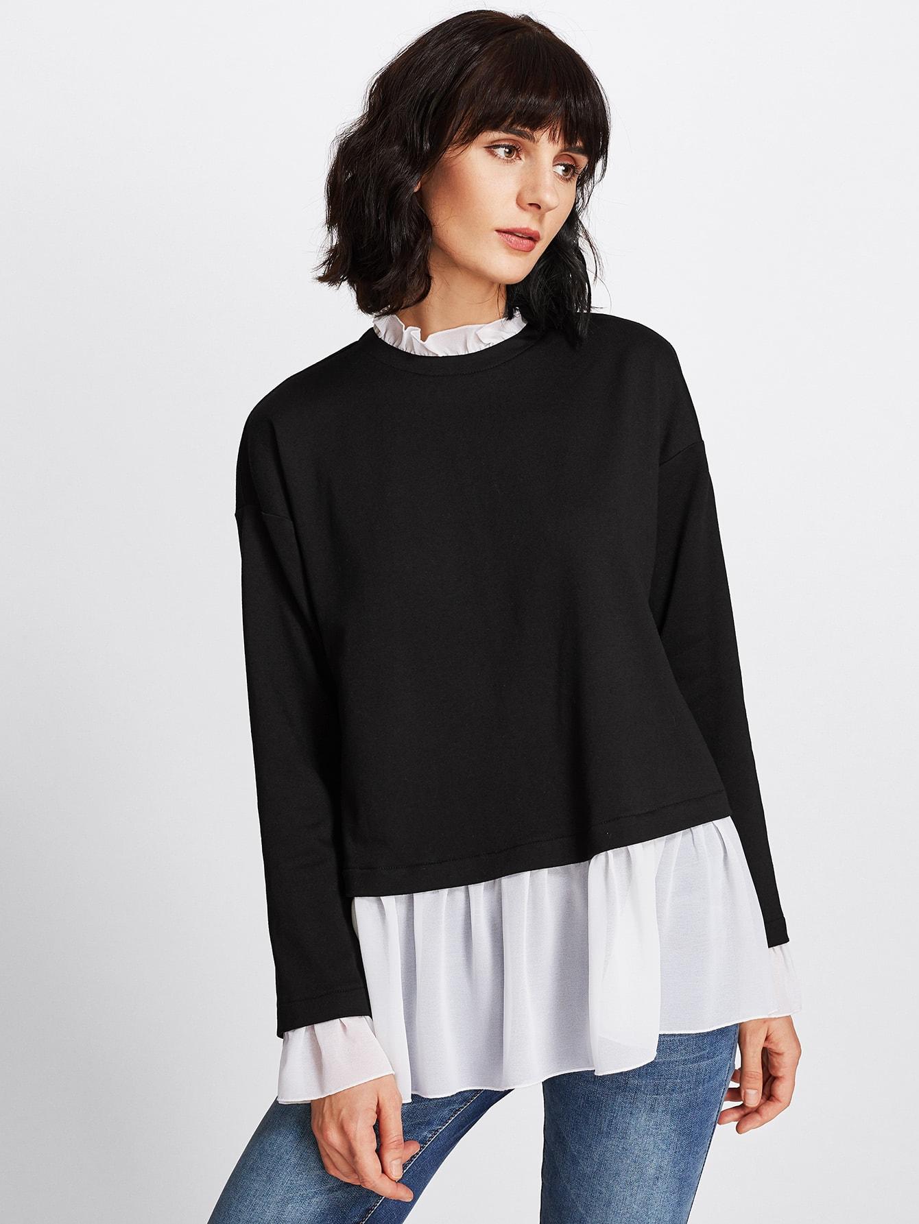 Contrast Ruffle Trim Heather Knit Sweatshirt mesh trim heather knit tee