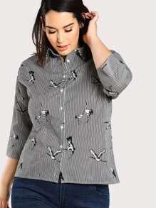 Pinstripe And Crane Print Drop Shoulder Shirt