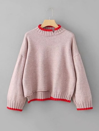 Contrast Trim Asymmetrical Sweater