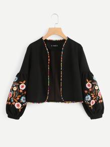 Embroidered Bishop Sleeve Pompom Trim Jacket