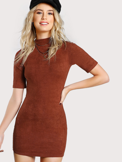 Mock Neck Form Fitting Suede Dress