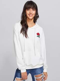 Embroidery Kangaroo Pocket Front Drop Shoulder Hoodie