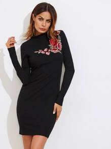 Embroidered Rose Applique Rib Knit Dress