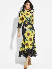 Sunflower Print Random Lace Hem Maxi Dress
