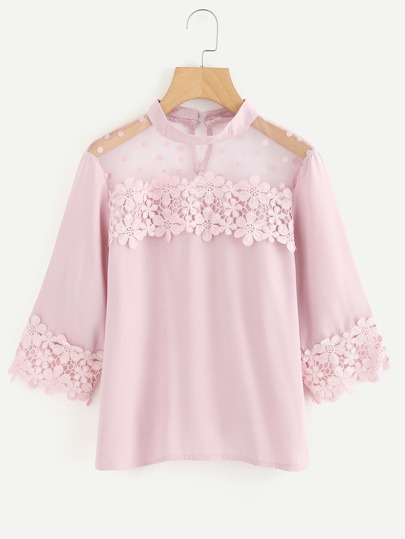 Flower Lace Trim Dot Blouse