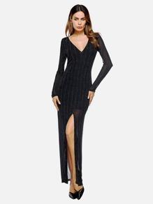 V Neckline Side Split Mesh Dress