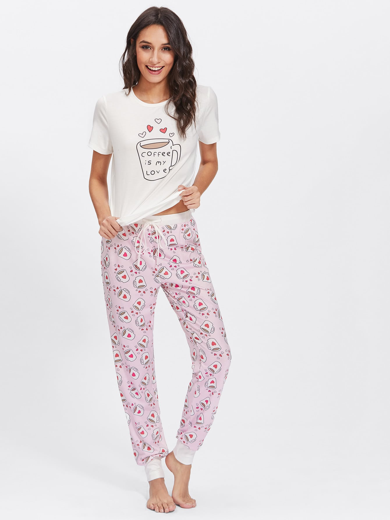 Graphic Tee & Allover Print Pants Pj Set
