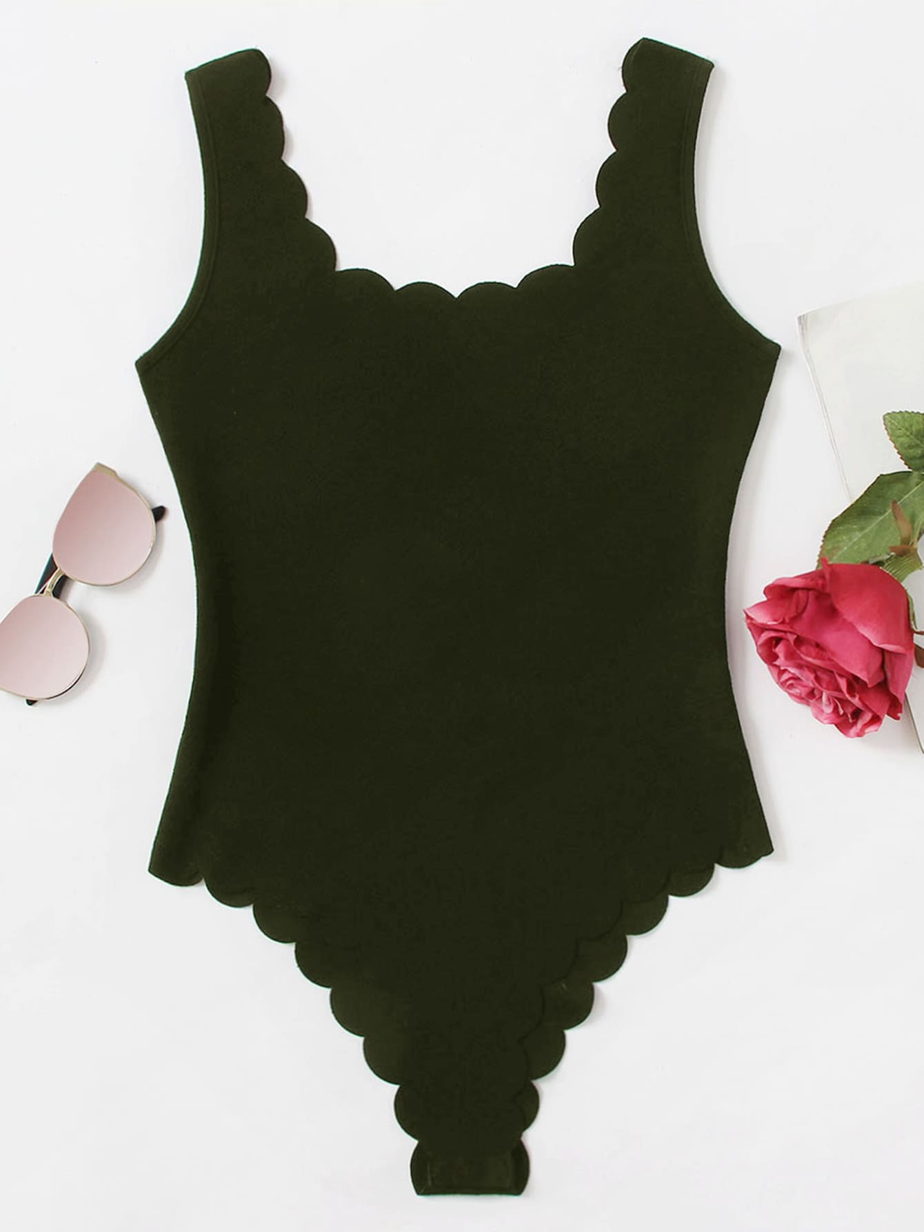 Scallop Trim Tank Bodysuit solid tank bodysuit