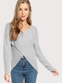 Long Sleeve Cross Front Sweater GREY