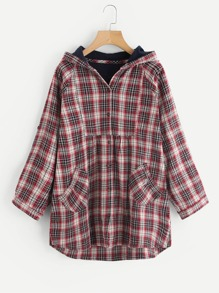 Manteau à capuche manche raglan à carreaux