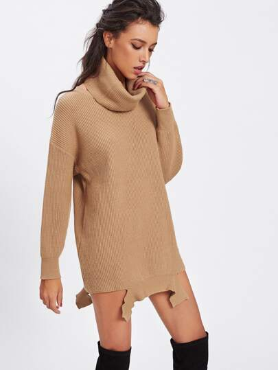 Ripped Hem Longline Sweater With Matching Collar