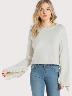 Ruffle Accent Long Sleeve Sweater CREAM