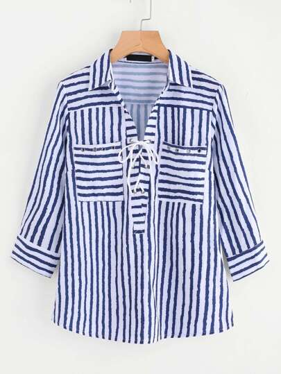 Eyelet Lace Up Chest Pocket Striped Shirt