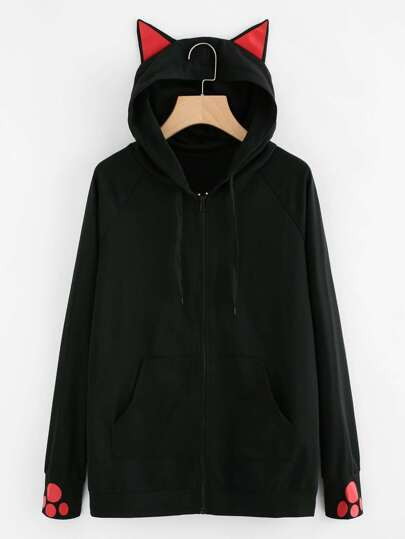 Cat-Ear Hooded Sweatshirt Jacket
