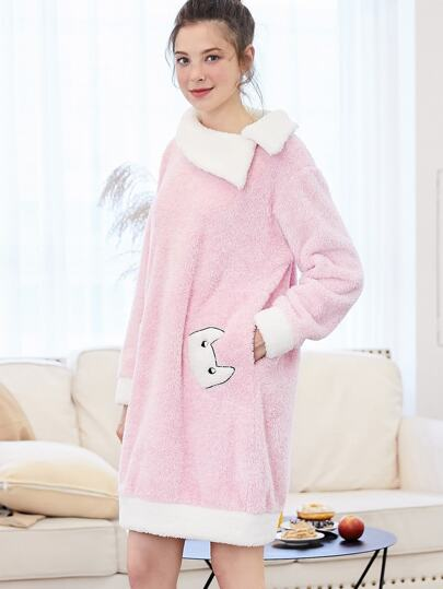 Contrast Trim Cartoon Embroidered Plush Nightdress