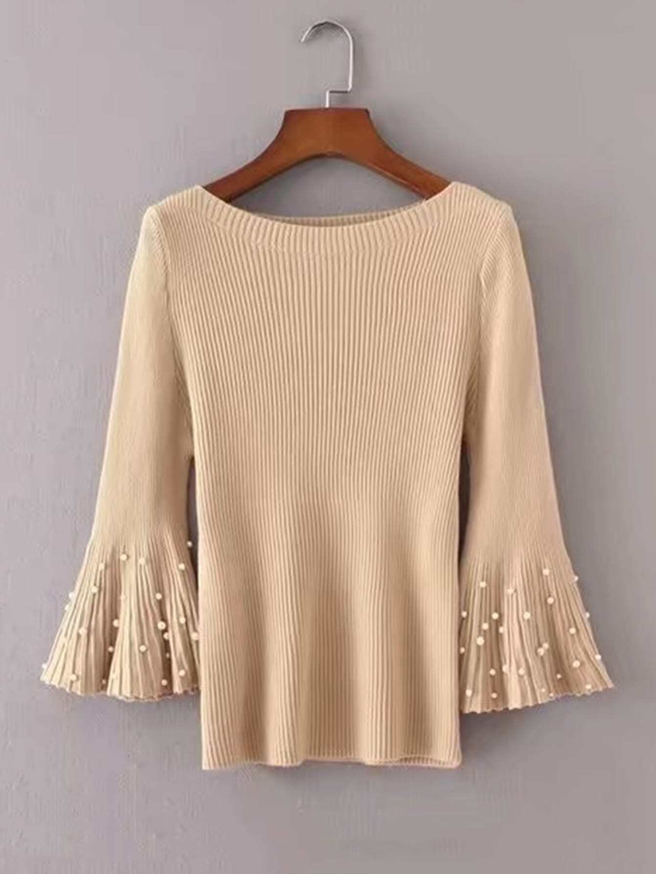 Faux Pearl Embellished Fluted Sleeve Knitwear sweater171023209
