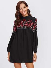 Lantern Sleeve Blossom Embroidered Smock Dress