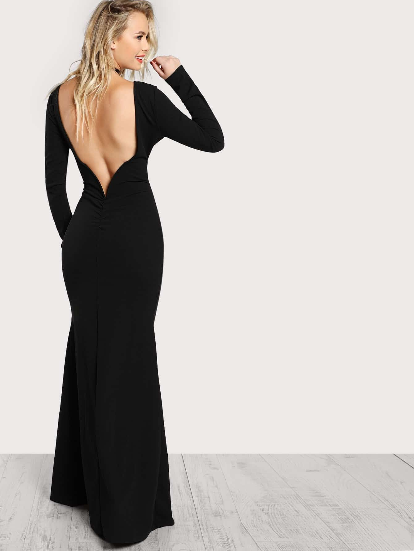 Long Sleeve Open Back Bodycon Maxi Dress open back chain detail bodycon dress