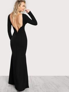 Long Sleeve Open Back Bodycon Maxi Dress