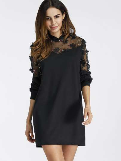 Flower Embroidered Lace Insert Hooded Dress