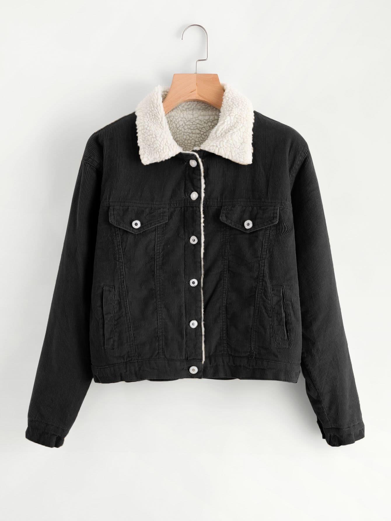 Corduroy Contrast Faux Shearling Jacket -SheIn(Sheinside)