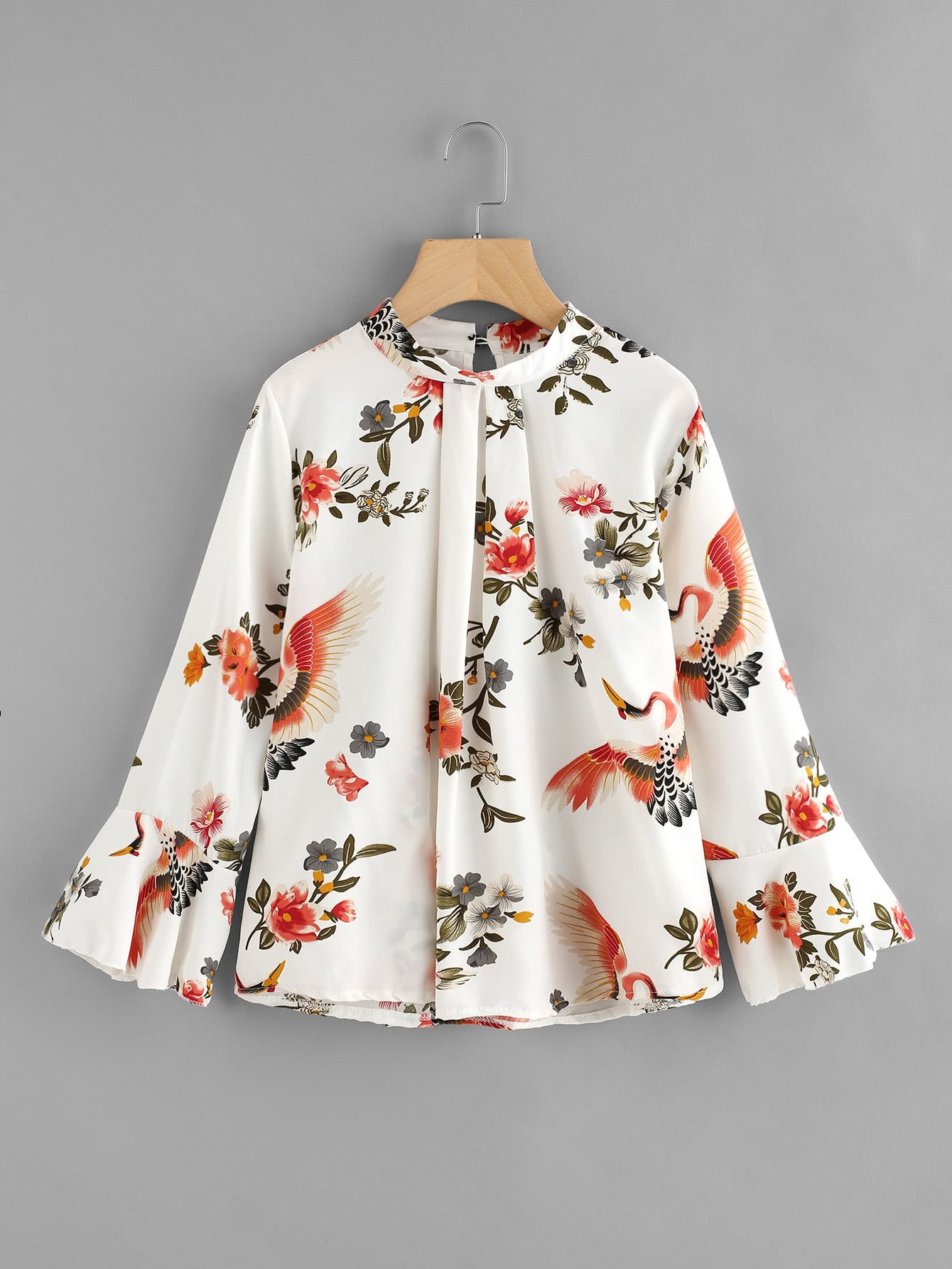 Fluted Sleeve Floral Print Pleated Front Blouse lace up front fluted sleeve dress
