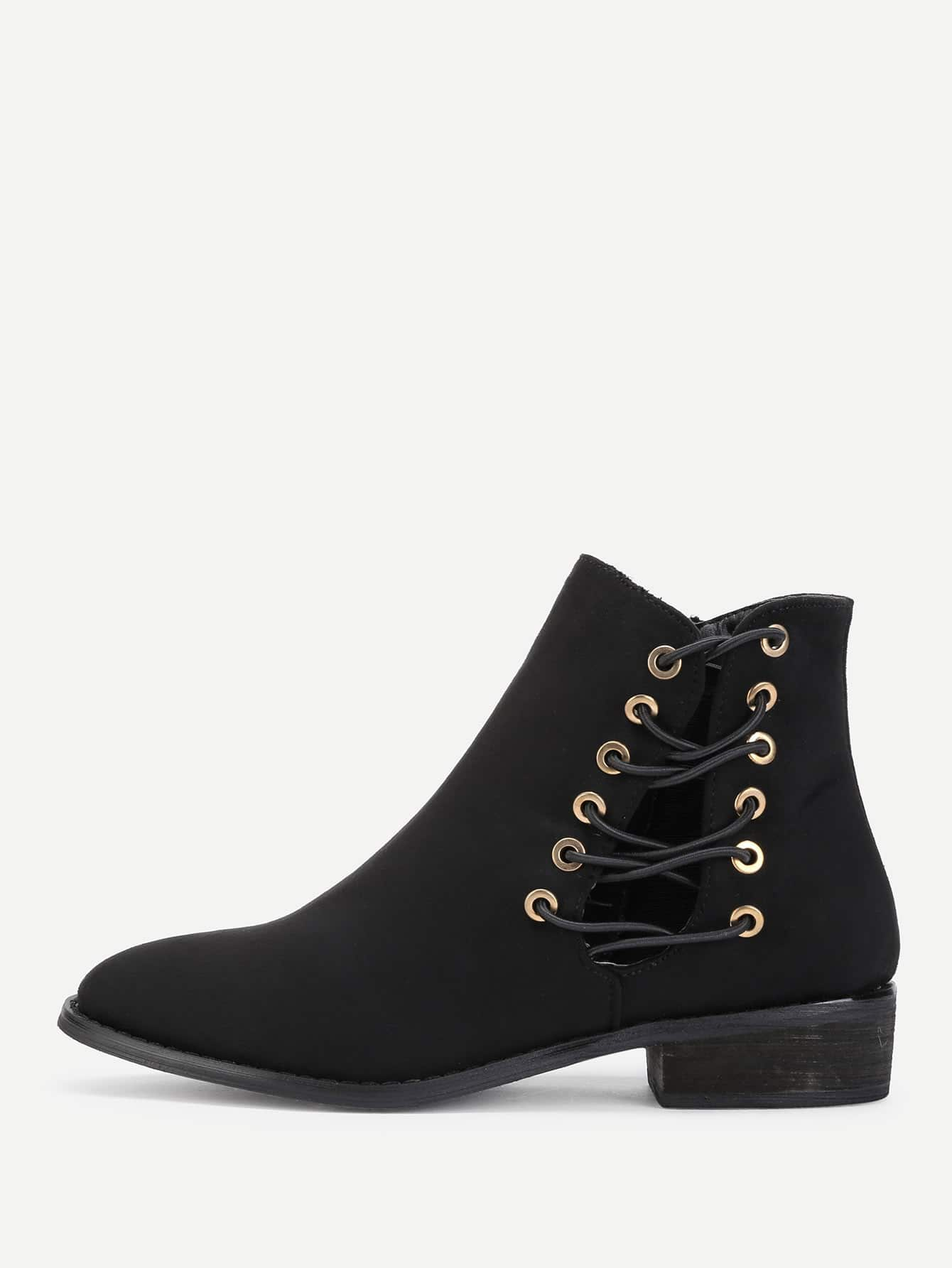 Criss Cross Strap Side Suede Ankle Boots