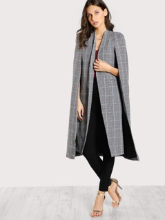 Collarless Open Front Longline Plaid Cape Blazer