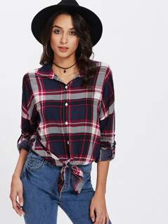 Knot Front Roll Tab Sleeve Check Blouse