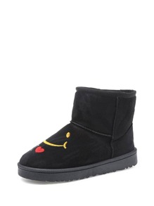 Embroidered Faux Fur Lined Snow Boots