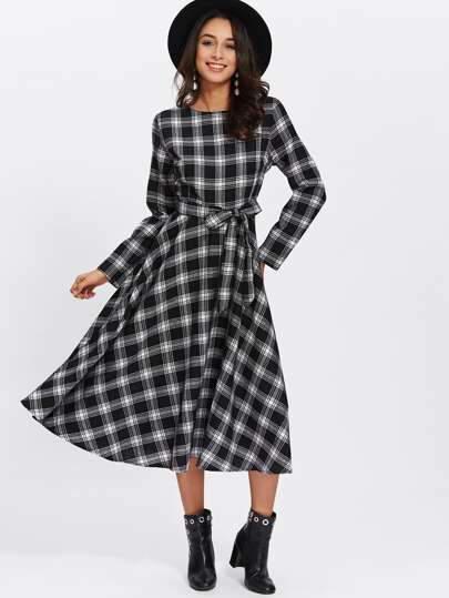 Checked Self Tie Waist Dress