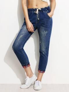 Gingham Rolled Hem Drawstring Jeans