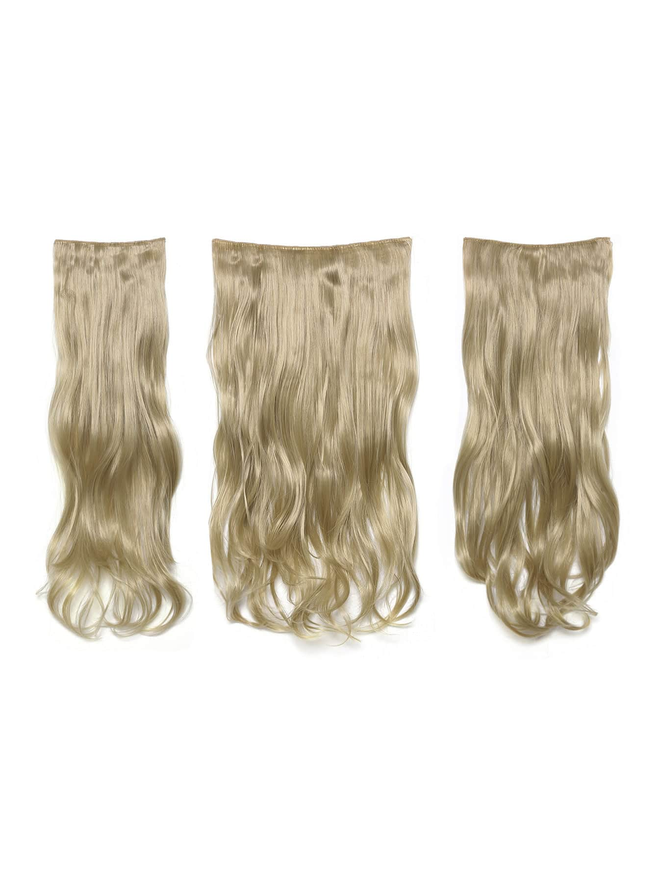 цена на Light Golden Blonde Clip In Soft Wave Hair Extension 3pcs