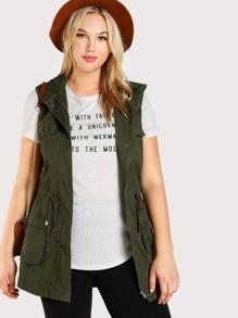 Sleeveless Hooded Military Jacket OLIVE