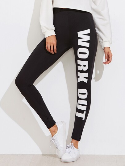 Leggings con stampa di slogan