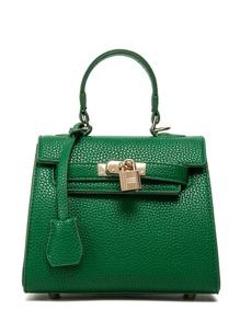 Lock Flap Pebble Pattern Handbag