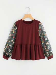 Floral Embroidered Lace Panel Frill Sweatshirt