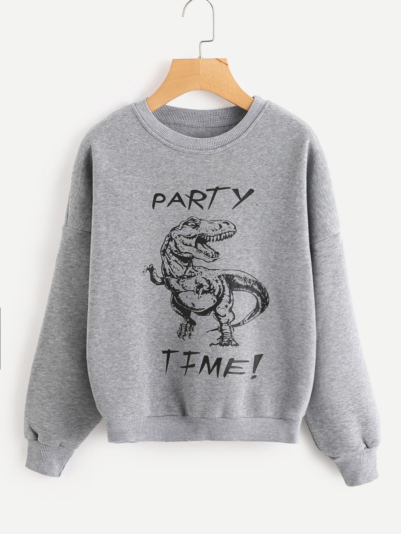 Dinosaur Print Drop Shoulder Sweatshirt alien print drop shoulder hooded drawstring sweatshirt