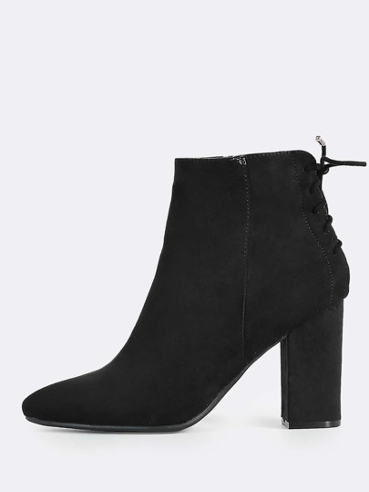 Faux Suede Lace Up Booties BLACK