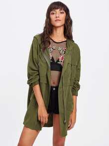 Drawstring Neckline Hooded Jacket