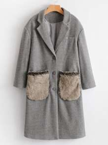 Faux Fur Embellished Pocket Wool Blend Coat
