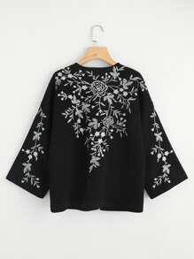 Flower Embroidered Kimono Coat