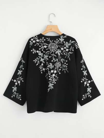 Flower Embroidered Kimono Coat