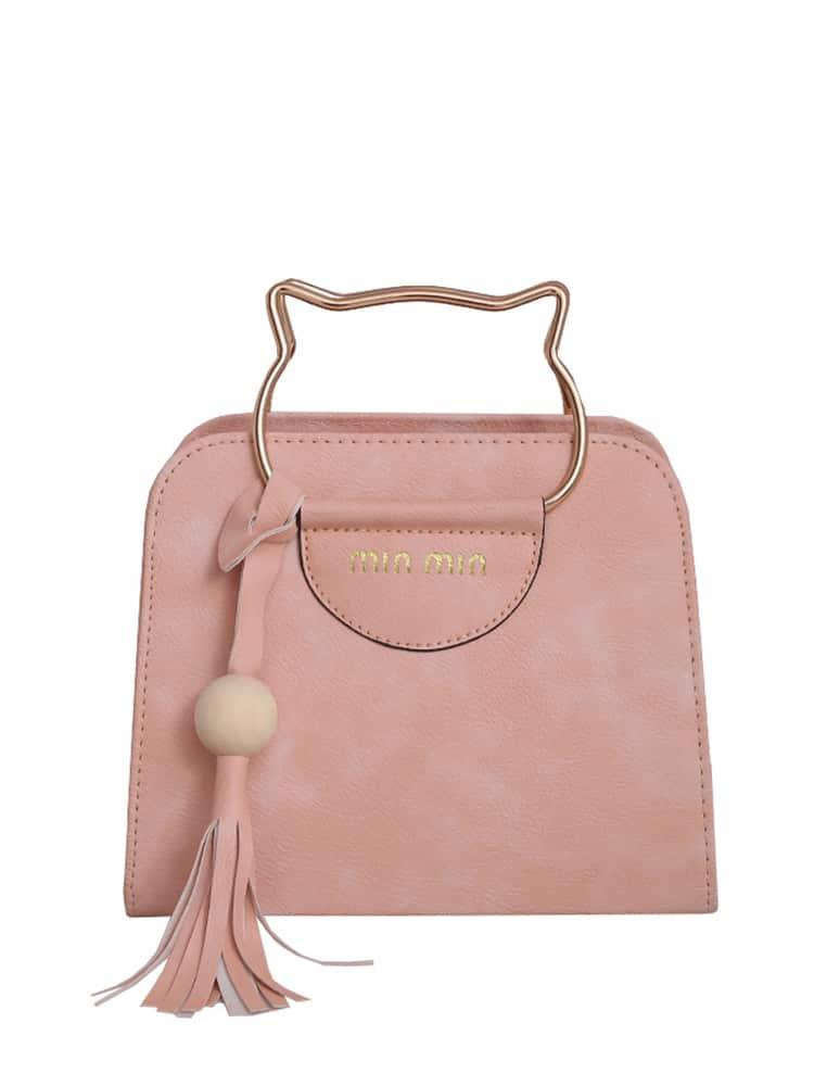 Tassel Detail Shoulder Bag With Cat Ear Handel tassel detail pu shoulder bag