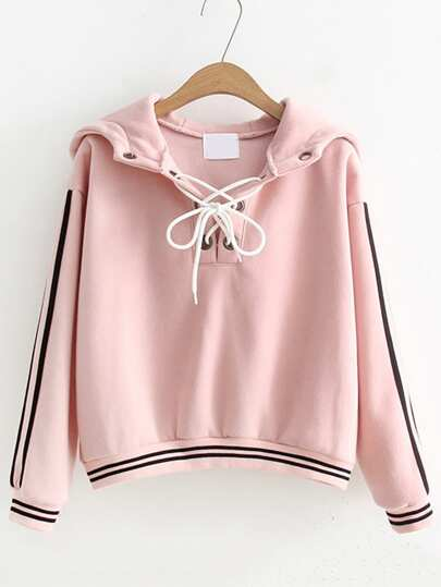 Striped Trim Lace Up Hoodie