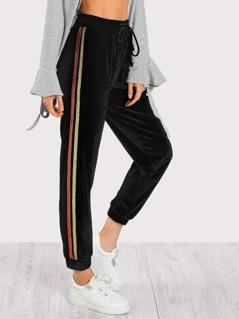 Stripe Side Bow Tied Velvet Pants
