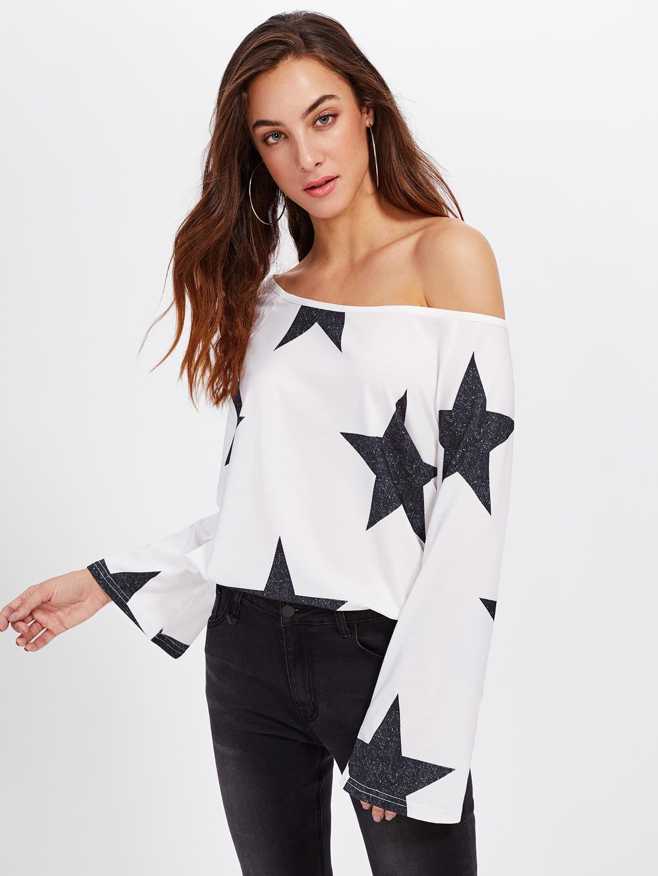 Asymmetric Shoulder Star Print Blouse lisa corti короткое платье